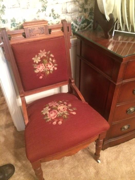 Eastlake needle point antique chair