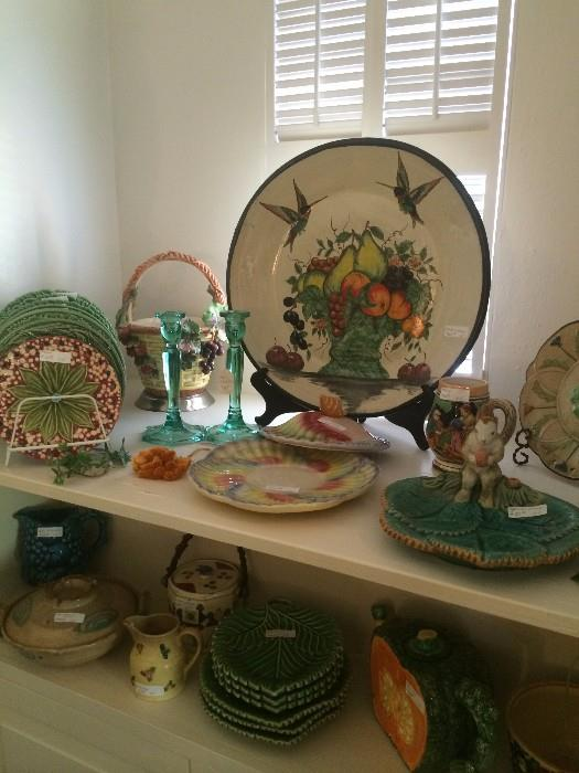 Majolica and other colorful decorative items