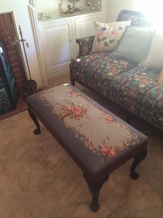 Needlepoint bed bench; fruit fabric sofa