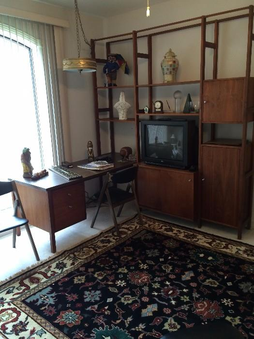 Danish modern desk and wall unit; one of several fabulous rugs; hanging light fixture
