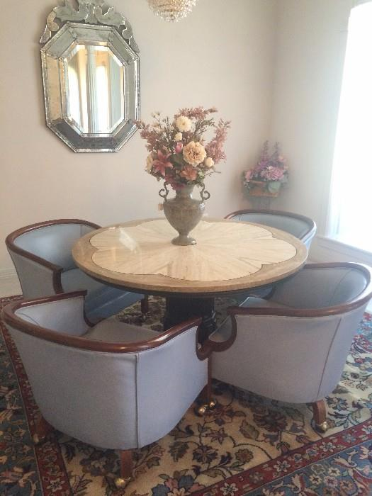 Italian mirror; marble top table with 4 blue leather chairs; 8.6 x 8.8 Persian Hamedan rug