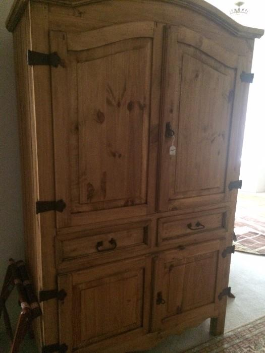 Four door/2 drawer pine armoire
