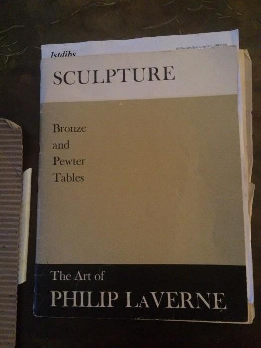 "Paperwork for the Bronze & pewter coffee table by Philip LaVerne ""Creation of Man"""