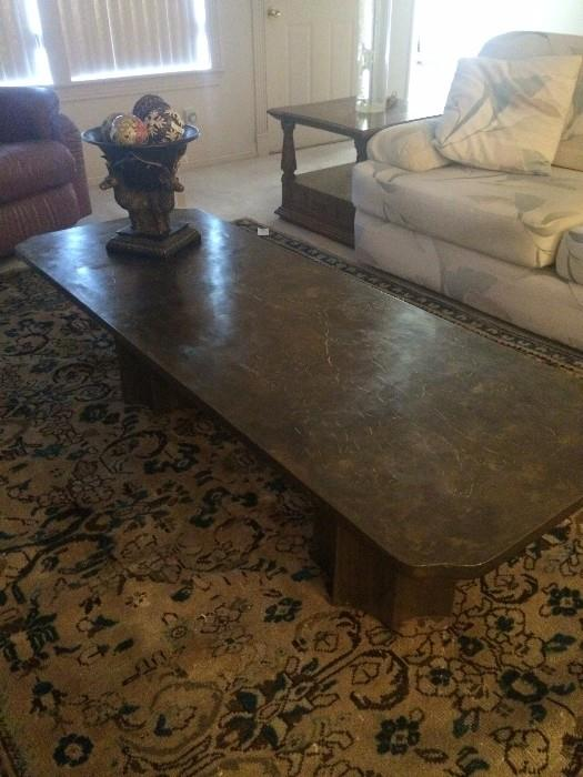 "Bronze & pewter coffee table by Philip LaVerne ""Creation of Man""  (retail $14,000);"
