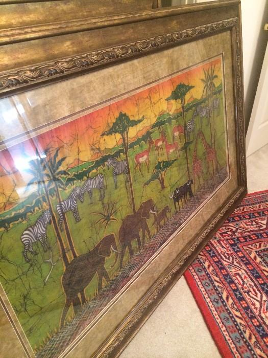 Consigned African art; some is by Agnese Udinotti (google Udinotti Gallery of Scottsdale) & framed tapestries.