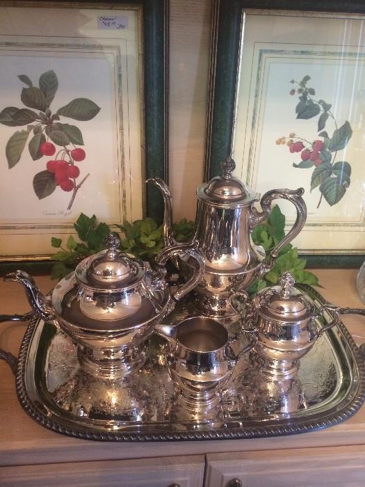 Silver plate tea service; 2 of 4 framed botanical prints