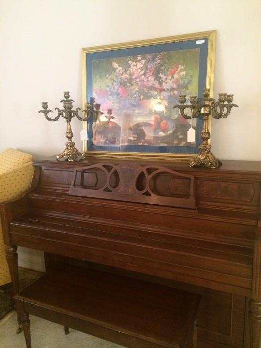 Extra nice Yamaha piano; framed art; pair of brass candelabras