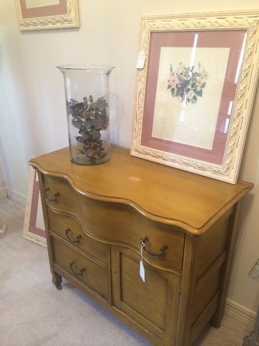 Antique wash stand; one of four framed pictures - florals with Shakespearean verses