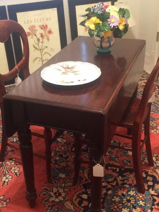 Antique Welsh drop leaf table and 2 chairs (not matching)