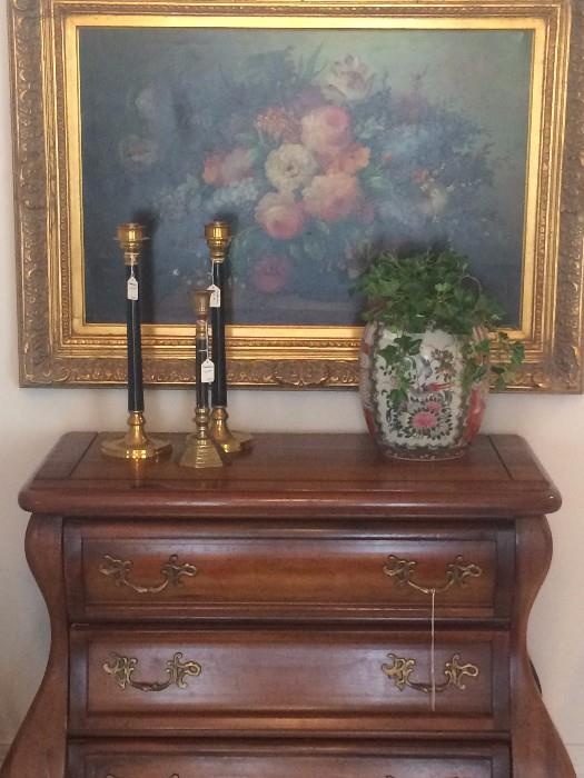 Striking 3 drawer Bombay  chest; Asian urn; more lovely framed flower art; brass candlesticks