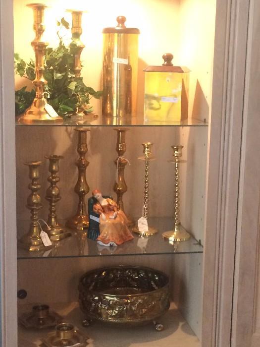"Great variety of brass; Royal Doulton lady figurine ""Romance"""