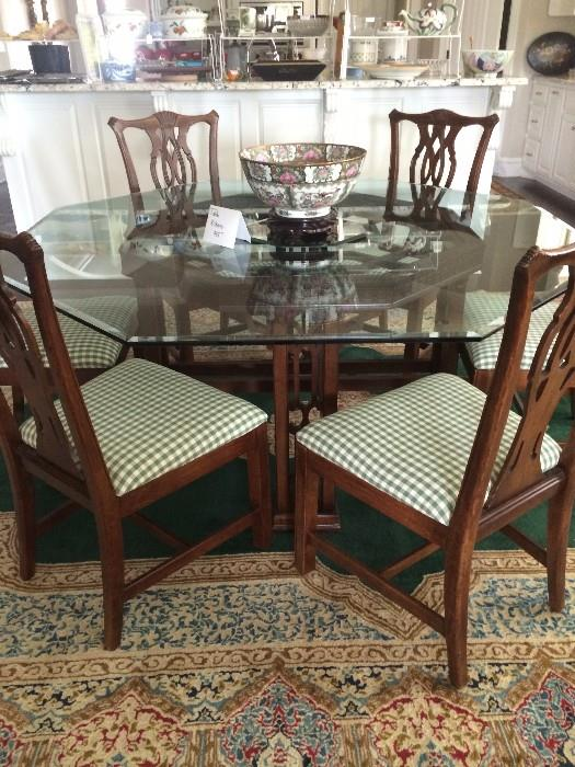 Exceptional octagon glass top dining table with 8 chairs