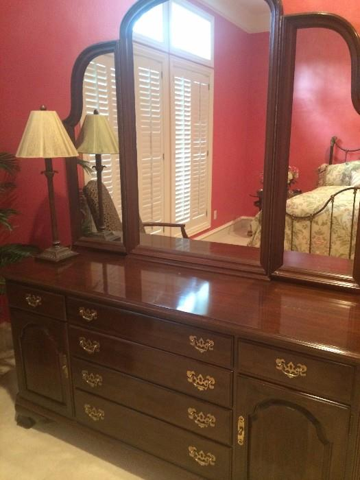 Triple dresser with tri-fold mirror