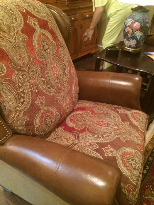 One of two identical recliners;