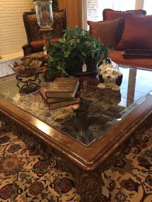 Large ornate coffee table; Staffordshire-style dog