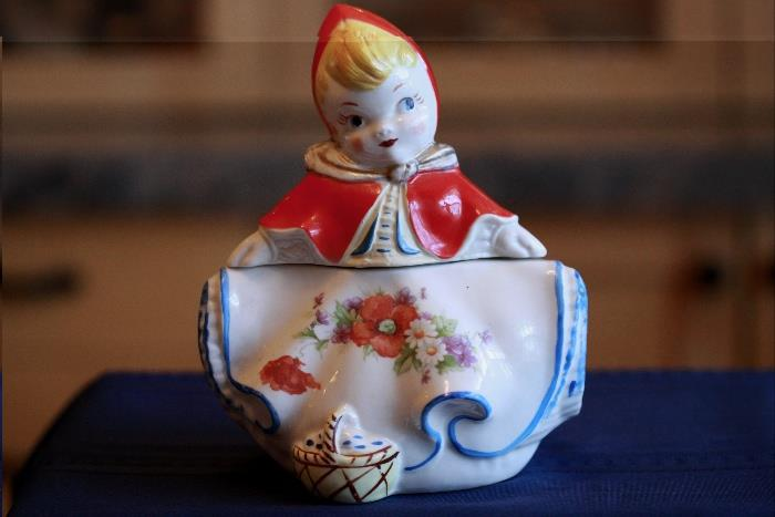 Antique Little Red Riding Hood Cracker Jar made by Hull