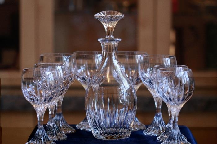 Baccarat  'Massena' round whiskey crystal decanter with eight 'Massena' glasses