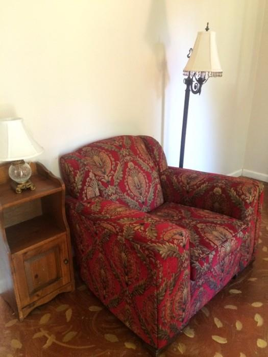 vintage char with new upholstery and an ottoman!