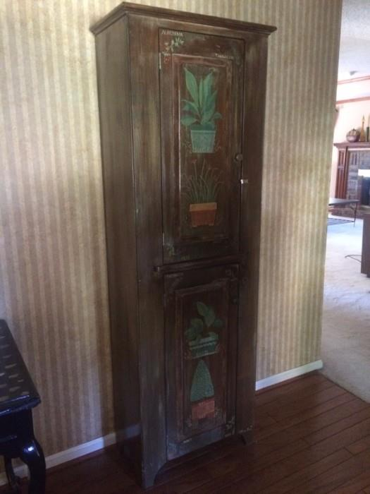 LOVE this cabinet painted with herbs