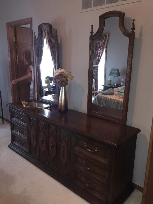 AMERICAN OF MARYSVILLE LONG DRESSER WITH TWO MIRRORS