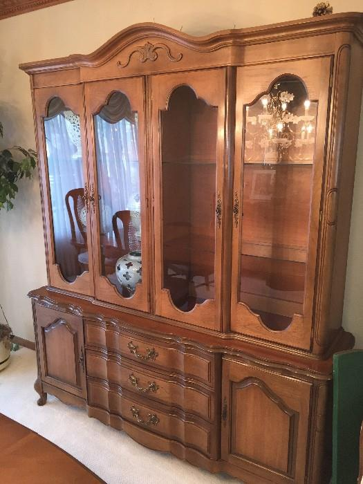 CHINA CABINET BY DREXEL ( TWO PIECES)