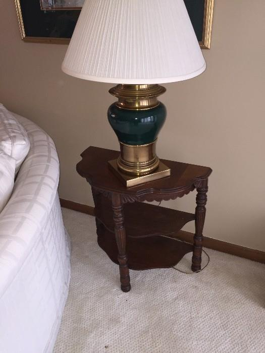 WOODEN HAND CARVED SIDE TABLE AND LAMP