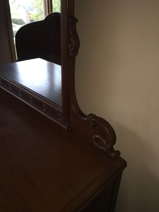 BEAUTIFUL HANDMADE/HANDPAINTED 1800S VICTORIAN BEDROOM SET BY WCR GRAND RAPIDS FURNITURE COMPANY ( INCLUDES TALL CHEST OF DRAWERES / FULL SIZE HEADBOARD WITH FOOTBOARD AND DRESSER WITH MIRROR)
