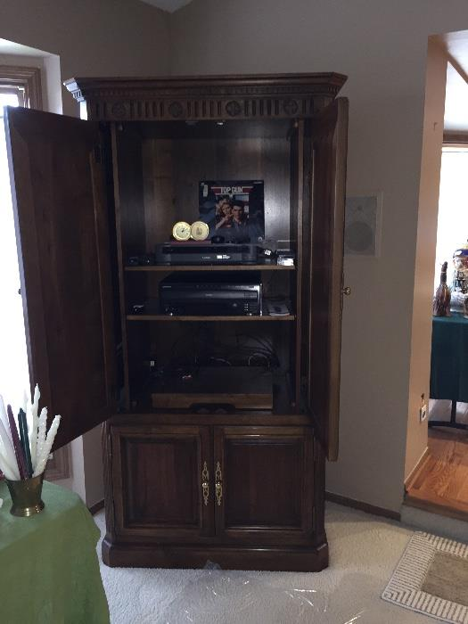 TALL SOLID WOOD ENTERTAINMENT CABINET