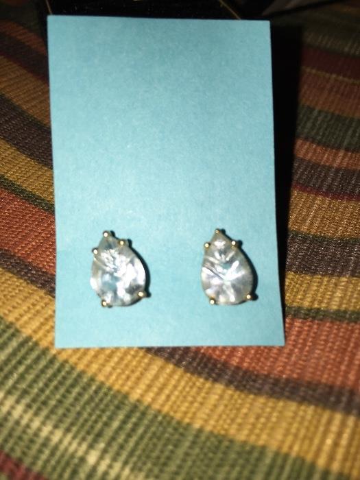 GORGEOUS BLUE TOPAZ 14K GOLD EARRINGS