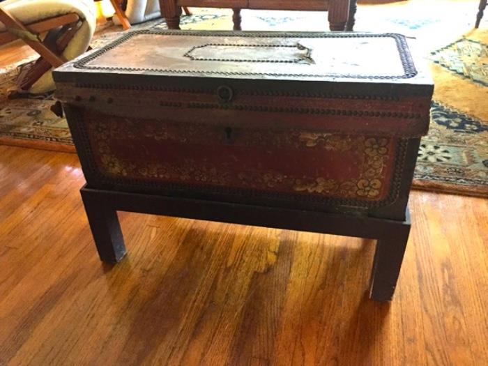 Antique Asian trunk on stand