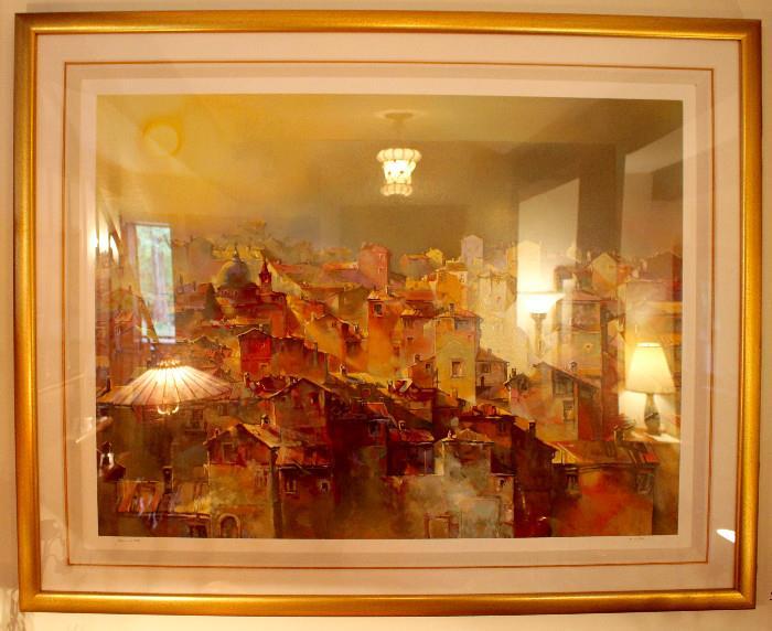"Serigraph ""Tetti Veneti"" by Elvio Mainardi 19/300 (COA from Gallery La Jolla, where purchased)"