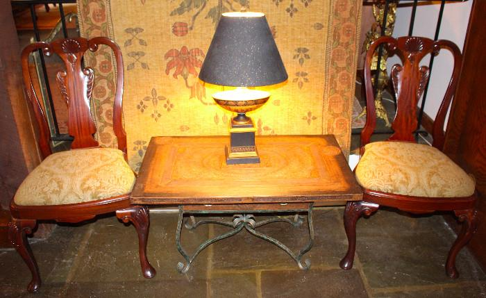 Pair of upholstered mahogany side chairs (another pair of matching frames with different upholstery are for sale as well, for a total set of 4 chairs), Stamped Leather Top Coffee Table with drawer, Handmade Tapestry