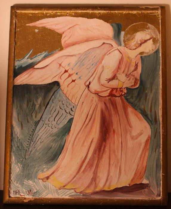 """Angel in Pink with Gold Leaf"" by Valerie De Montvallon, France (purchased at Espiritu on Madison Ave. in NY)"