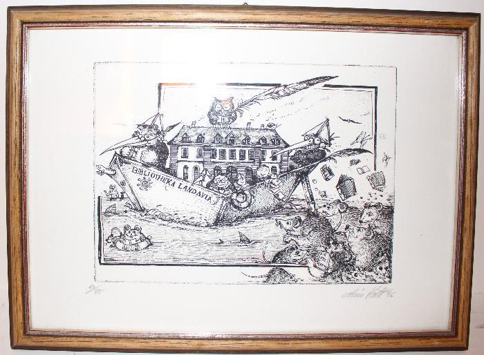 """Etching of """"Bibliotheka Landavia"""" by A. Hott 64/80"""