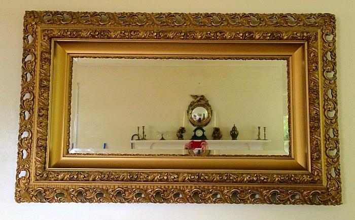 Large Antique Elaborate Gilt Carved Frame Mirror