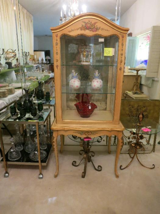 French Provincial glass cabinet and table