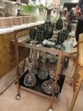 Beautiful glass wine and liquor decanters, Hollywood Regency/Mid Century Modern Bar Cart