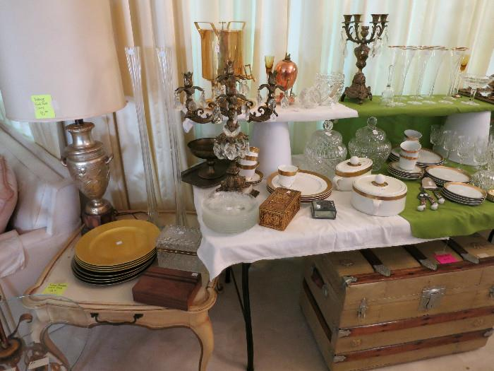Beautiful Candlabras, Gold and White China, French Provincial Accent Table, Vintage Chest In Great Shape