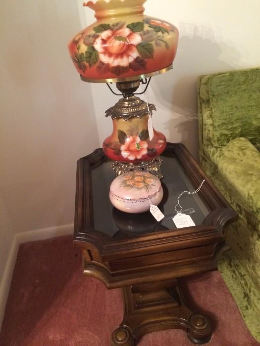 One of two matching end tables; antique lamp