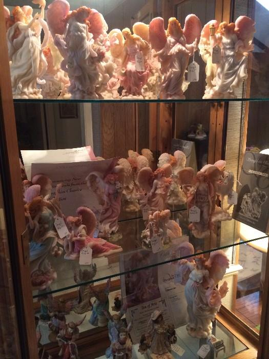 Angel collection in display case