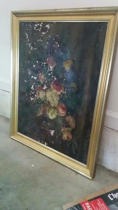 The owner's Mom bought this oil painting from her art teacher in the 30's and paid $350.00 for it. Good luck. What price should I put on this piece now?