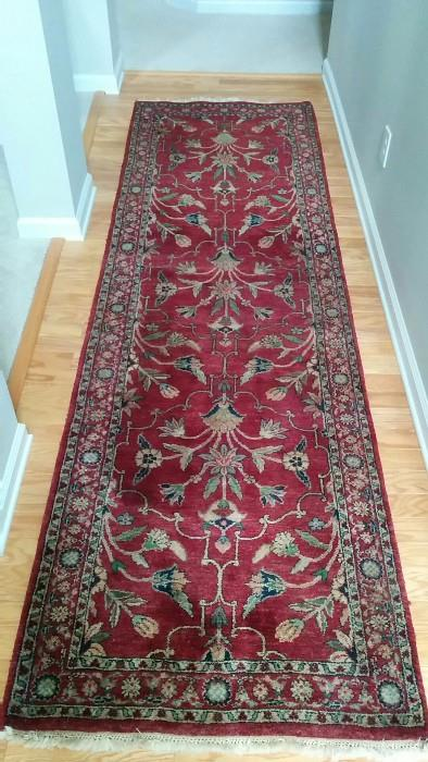 "A beautiful hand woven Persian Sarouk runner, measures 3'2"" x 11'6""."