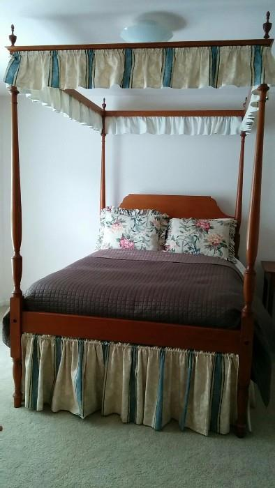 Now THIS is cool! The owners had this 4-poster double bed commissioned by a woodworker in Richmond, VA 70 years ago.                                                                            It has slats and really needs a box spring, but then you'll need a ladder to climb in the thing!