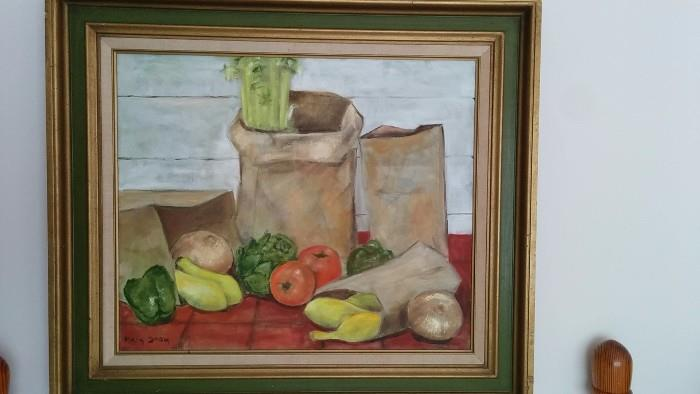 Another vintage, artist signed still life, on canvas - love the 1960's avocado green frame.