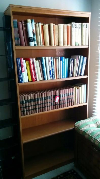 One of a pair of wooden bookcases, this one actually has books in it - how novel!