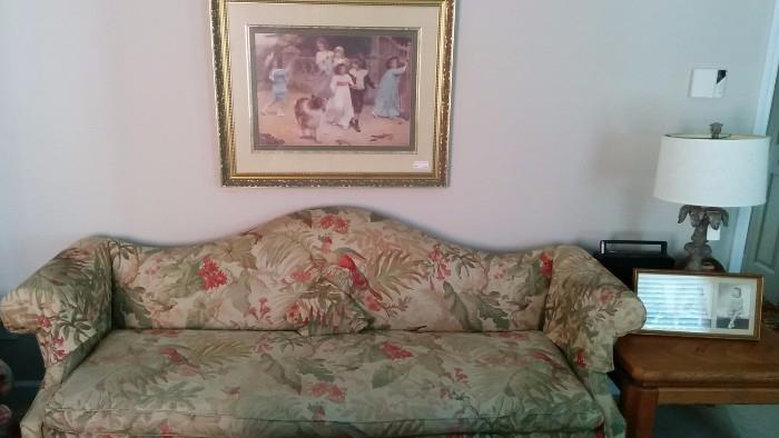Hmm, what do you say about a dated camelback sofa, with faded peacock print?                                        NOTHING.