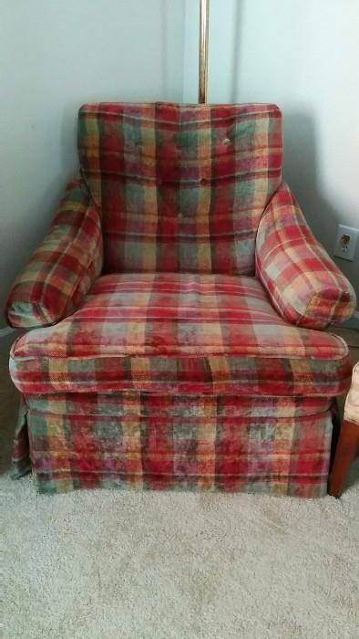 Lumberjack plaid upholstered chair for the hunky lumbersexual in your life.