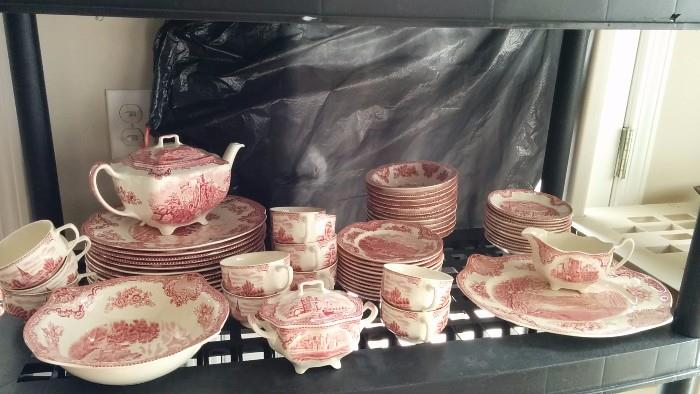 "64-Piece set of ""Old Britain Castles"" pink, by Johnson Brothers China, manufactured in England"