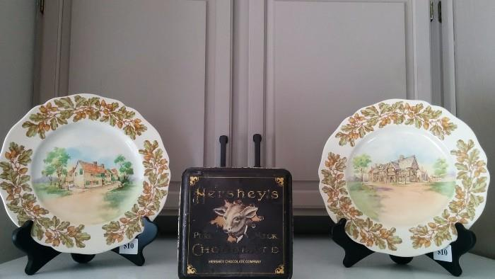 "Pair of vintage Royal Doulton china plates, ""Old English Inns""; vintage Hershey's Cocoa tin"