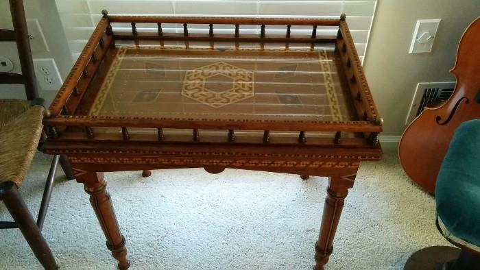 AMAZING English inlaid gallery-top side table. The inlay work on this table is some of the best I've seen and the entire table is inlaid. Take a look at this, as you won't see another like it.